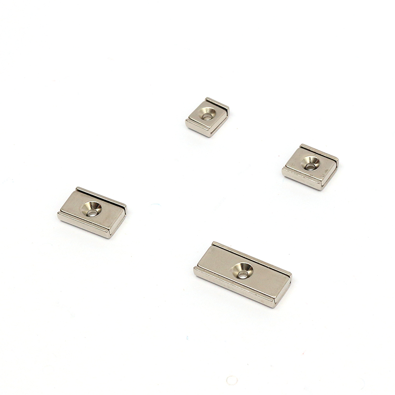 Block Counter bore Rectangular Neodymium pot magnet